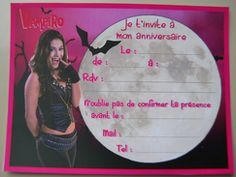 Invitations imprimer chica vampiro anniversaire - Carte violetta a imprimer ...