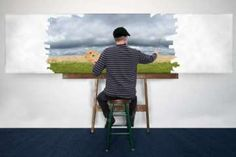 Photo about Artist and painter is painting a nature landscape. The man is creating his art with oil paint. The work is being done on a white canvas. Image of artiste, painter, creates - 37095668 Nature Images, Landscape Paintings, Graphic Art, Royalty Free Stock Photos, Creative, Modern, Artwork, Artist, Oil