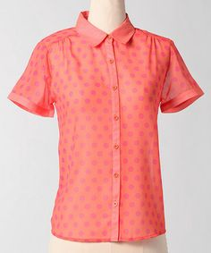 Take a look at this Orange Hot Dots Button-Up by Down East Basics on #zulily today! $18 !!