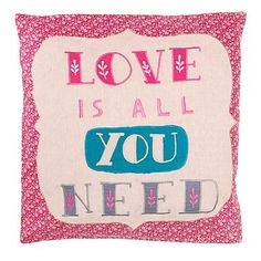 Pink 'Love is all you need' 40x40cm cushion - Cushions - Bedding - Home & furniture -