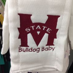 A personal favorite from my Etsy shop https://www.etsy.com/listing/183294960/bulldog-baby-burp-cloth-mississippi