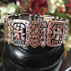 Love, Hope & Faith Bracelet Rustic Hammered Stretch Bracelet Stretchable to fit most sizes Antiqued & Charming Design in Silver, Gold & Copper Colors Jewelry Bracelets