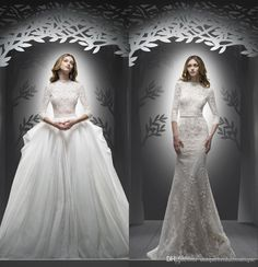 Mermaid Wedding Dresses 2017 Ersa Atelier With Detachable Tulle Skirt And 3/4 Long Sleeves Beaded Lace Sexy Bridal Gowns With V Back Pakistani Wedding Dresses Short Wedding Dress From Uniquebridalboutique, $282.77| Dhgate.Com