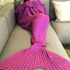 Fashion Comfortable Falbala Decor Knitted Mermaid Design Throw Blanket #CLICK! #clothing, #shoes, #jewelry, #women, #men, #hats, #watches