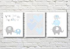 Pink Elephants printable nursery art set por PinkMilkshakeDigiArt