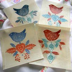 Folk Bird Lino Print and Wax Collage, by ManglePrints