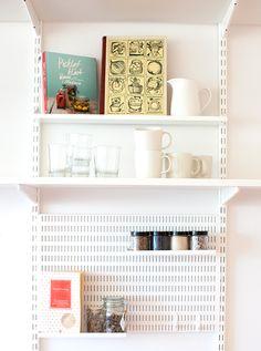 Elfa kitchen storage solution in white.