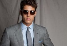 Gray Suit and Shades. Light Grey Suits, Light Blue Shirts, Gray Suits, Shirt Tie Combo, Business Outfit, Business Suits, Freddy 's, We Wear, How To Wear