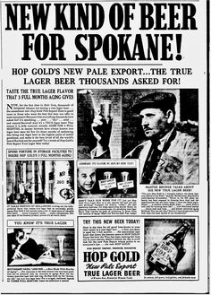 Spokane Daily Chronicle, June 2, 1938    Hop Gold Pale Export beer ad