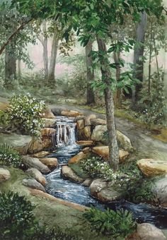 Serenity Falls - Limited Edition Art Print - William Mangum Fine Art -- one of my favorite places in Greensboro. Fantasy Landscape, Landscape Art, Landscape Paintings, Landscapes, Pictures To Paint, Nature Pictures, Watercolor Landscape, Watercolor Paintings, Waterfall Paintings