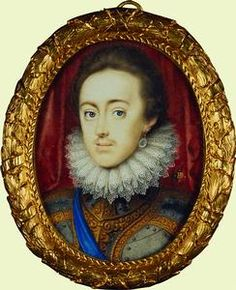 1616-20: Charles I when Prince of Wales, portrait miniature by Peter Oliver, son of Isaac Oliver.  Royal Collection, RCIN 420049