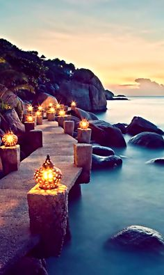 Take a Walk on the Lantern Walkway, Thailand. More of Thailands beauty; http://theculturetrip.com/asia/thailand/
