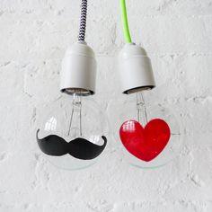 ESW2  The I Heart Mustache Light Bulbs  Hand by EarthSeaWarrior