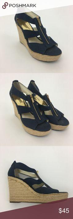 "Michael Kors espadrille shoes Material: Canvas Great preowned condition!  4"" heel, 1.25"" platform.  Item 2586 MICHAEL Michael Kors Shoes Wedges"