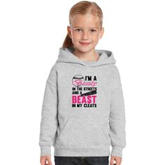 Softball Shirt, I'm A Beauty In The Streets And A Beast In My Cleats Kids Hoodie