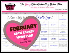 FREE February Slow Cooker Menu Plan with weekly grocery lists! great plan for busy families