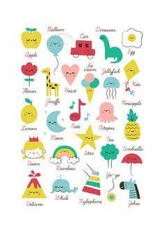 Abecedario infantil. Alfabeto niños lámina imprimible. Kids alphabet