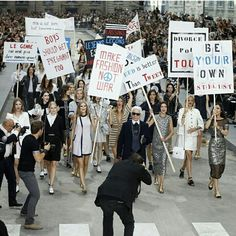Paris Fashion Week Karl Lagerfield new for Chanel | women's rights demo #Karllagerfield #Chanel #fashionGOD #pfw #parisfashionweek