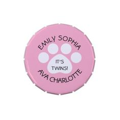 #shower - #Baby Shower - Twin Girls - Paw Print Theme Jelly Belly Candy Tin