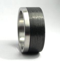Carbon Fiber & Titanium Ring by Rosler on Etsy, $143.00