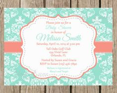 coral and mint bany shower cupcakes | Baby Shower Printable Invitation - Mint and Coral, Damask, Grey ...