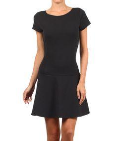 Look at this #zulilyfind! Black Drop-Waist Dress by J-MODE #zulilyfinds