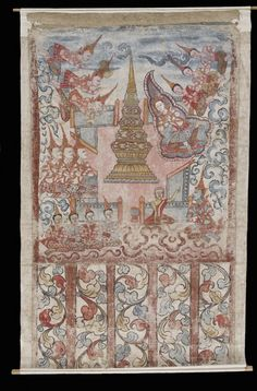Phra Malai at the Culamani stupa in Indra's heaven. Thai (Artist) PERIOD 18th-19th century MEDIUM paint on paper	 (Painting & Drawing). Thailand (Place of Origin)