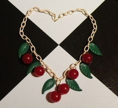 Someday I'll own a necklace like this. a real bakelite one. Cherry Necklace, Cherry Kitchen, Cherries, Vintage Black, Chain, Shoes, Jewelry, Maraschino Cherries, Jewellery Making