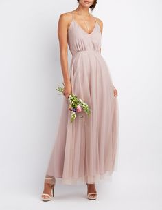 Tulle V-Neck Maxi Dress   Charlotte Russe