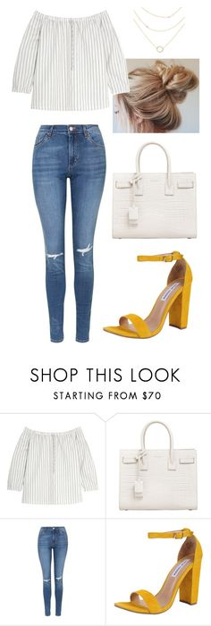 """LONDON 1"" by saradiamondlovee ❤ liked on Polyvore featuring Madewell, Yves Saint Laurent, Topshop and Steve Madden"