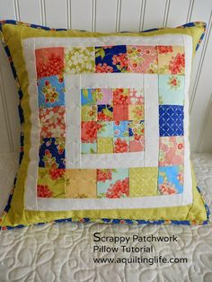 Scrappy Patchwork Pillow Tutorial (A Quilting Life)