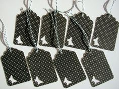 Polka Dot Tags with Butterfly Set of 8 by UnicornPaper on Etsy, $2.50