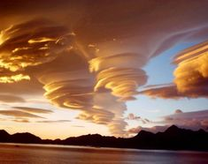 Beautiful spiral clouds above South Georgia island, a British territory in the southern Atlantic