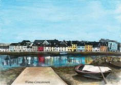 The Long Walk - Galway Fishing Villages, Long A, Limited Edition Prints, Giclee Print, Ireland, Walking, River, City, Jogging