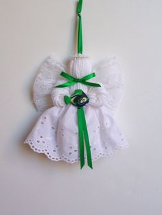 Gone Fishin' Lace and Yarn Angel Ornament by timelesstradition