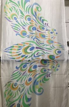 70 x 180 / 27 x 70 in. Peacock Tail, Peacock Pattern, Silk Painting, Silk Chiffon, Hand Painted, Unique Jewelry, Handmade Gifts, Trust, Scarves