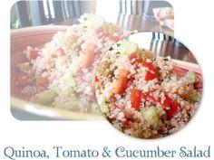 Quiona cucumber and tomato salad. Makes quite a bit.