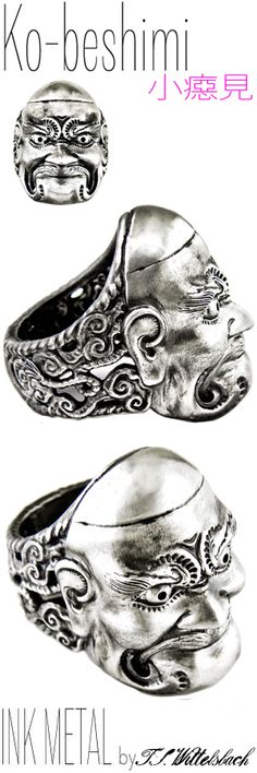 Silver Ring - KOBESHIMI  A mask representing an ancient mountain tengu and creature of the shadows, Ko-obeshimi bears a fierce gaze reflective of his dangerous goblin strength.