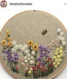 Wonderful Ribbon Embroidery Flowers by Hand Ideas. Enchanting Ribbon Embroidery Flowers by Hand Ideas. Embroidery Stitches Tutorial, Embroidery Flowers Pattern, Simple Embroidery, Embroidery Hoop Art, Crewel Embroidery, Hand Embroidery Designs, Vintage Embroidery, Ribbon Embroidery, Embroidery Ideas