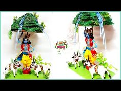 Creative Crafts, Diy Crafts, Janmashtami Decoration, Bead Loom Designs, Krishna Leela, Laddu Gopal, Wooden Swings, Mural Art, Paper Quilling