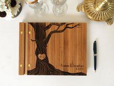Custom Wedding Guestbook Made of Bamboo wood - wedding guest book album bridal - Wedding Gift - curly tree