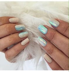 Beige blue nails, Beige nail polish, Everyday nails, Iridescent nails, Nails ideas 2017, Office nails, overflow nails, Square nails