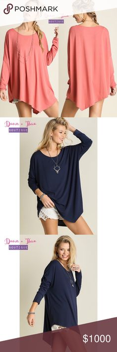 """Coming Soon 🌟Asymmetrical Long Sleeve Top🌟 Who needs symmetry anyways? 😂 Fabric is Cotton Blend. Color: Salmon & Navy  Available in sizes Small, Medium and Large.  Will update description for measurement once the items arrive.  💟Submit your offer thru the """"Offer"""" button 💟NO Price discussion in the comment 💟NO Lowballing 💟NO Trades Tops"""