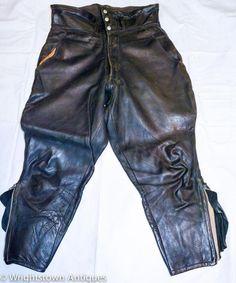 VTG 30s Beck Biker BLACK Leather Motorcycle Pants Felt Lined TRUE VINTAGE
