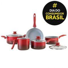 Ricardo Eletro Conjunto de Panelas Brinox Ceramic Life 2.5 Colour 4740/103 Vermelha - 6 peças --> R$ 186,10