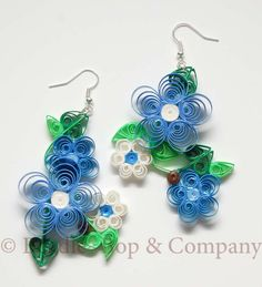 Organic Flowers Quill Earrings by BeadleBop on Etsy