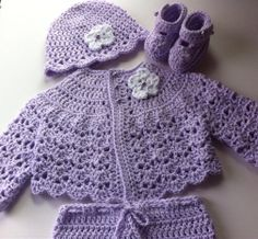 Crochet Baby Set lavender sweater pants booties hat by GoingCrafty, $46.00