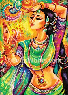 Indian classical dance art print beautiful Indian woman painting Indian decor wall decor affordable art gifts, signed print, 5x7 7x10