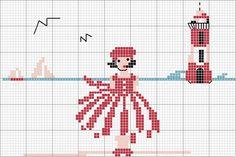 Simple girl at the beach cross stitch - free chart - free pattern
