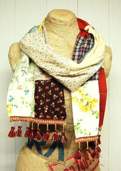 Boho Patchwork Scarf Shabby Chic Tattered Scarf by PrimitiveFringe